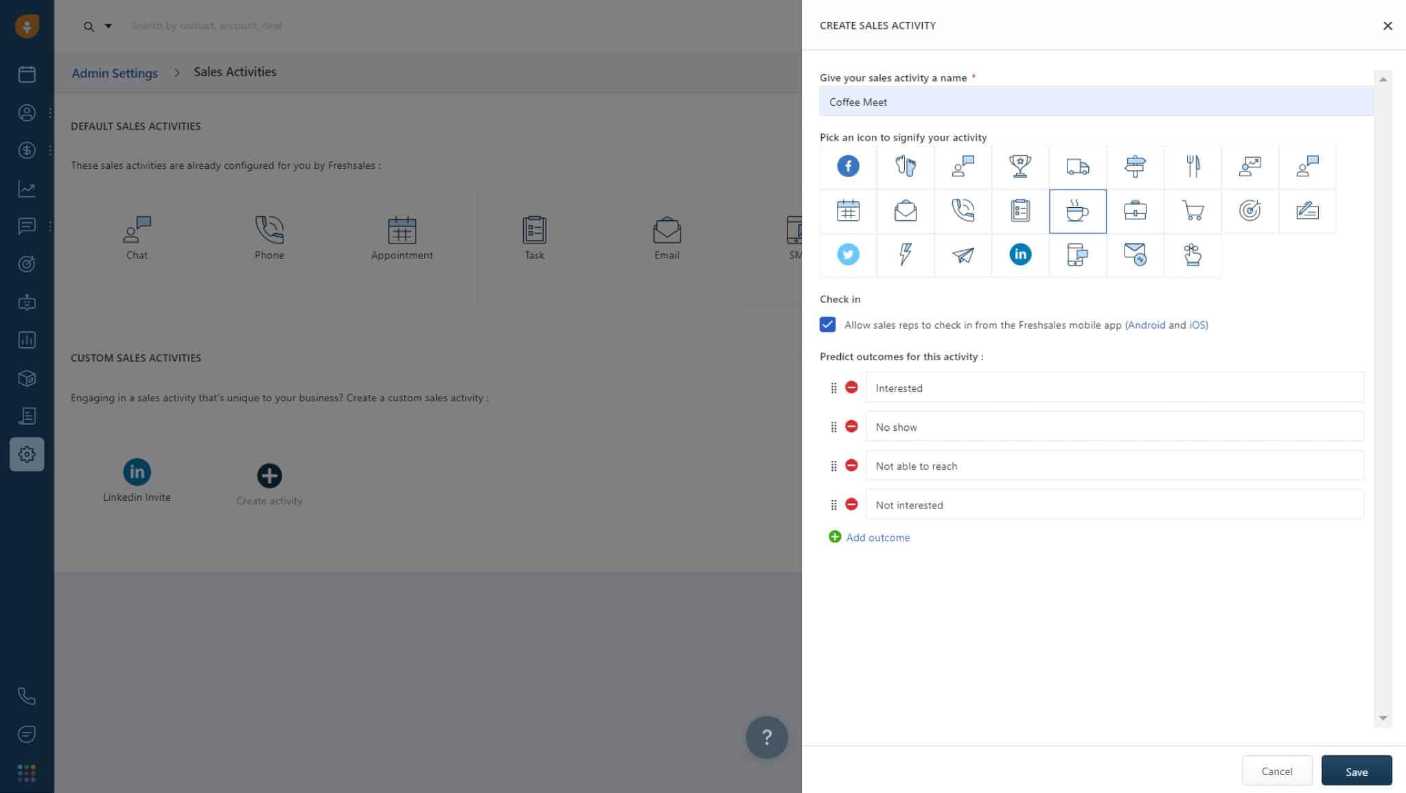 Screenshot of Freshsales custom sales activities