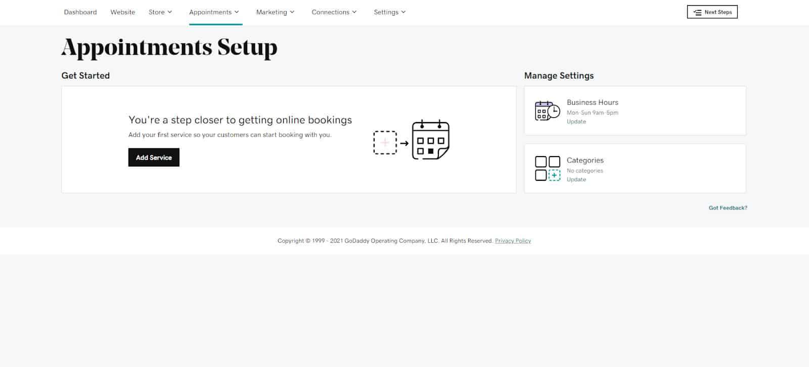 Screenshot GoDaddy appointmen system page