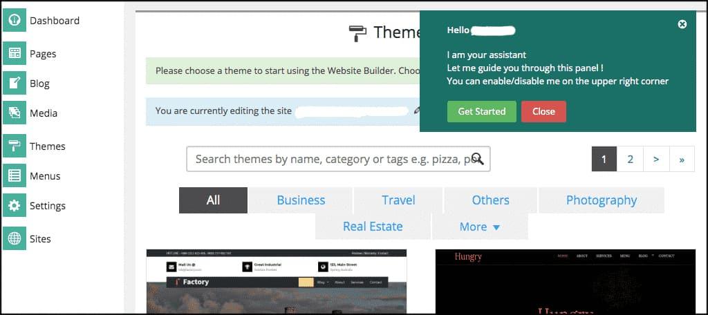 Screenshot of GreenGeeks drag-and-drop SitePad site builder