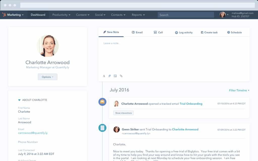 Screenshot of HubSpot CRM lead profile example
