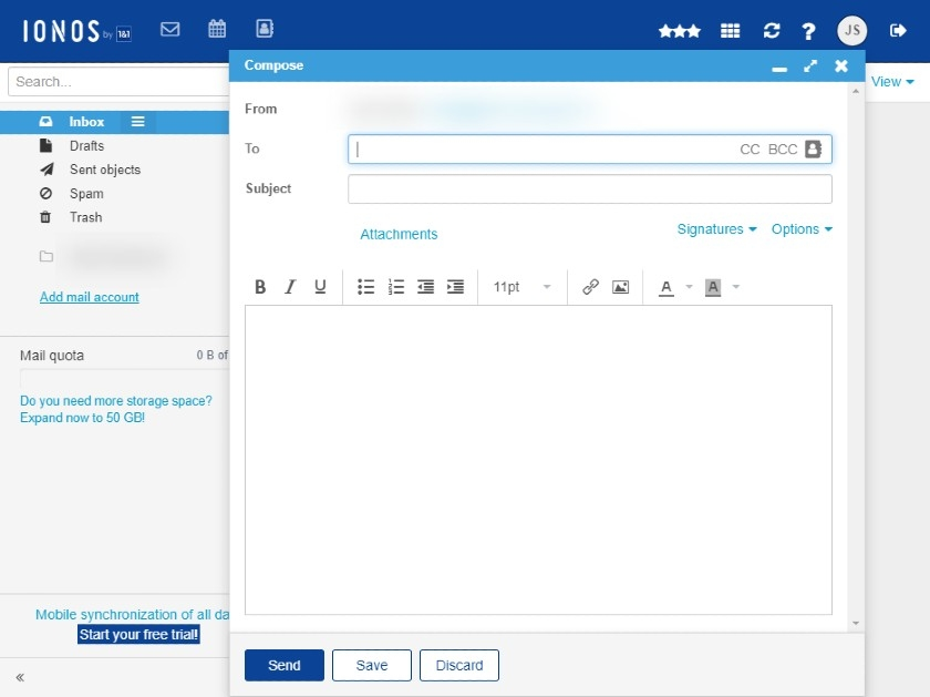 IONOS Compose Email interface