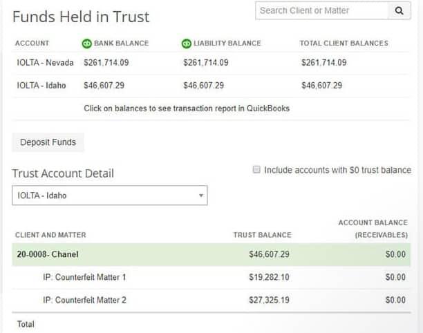Screenshot of LeanLaw Funds Held in Trust