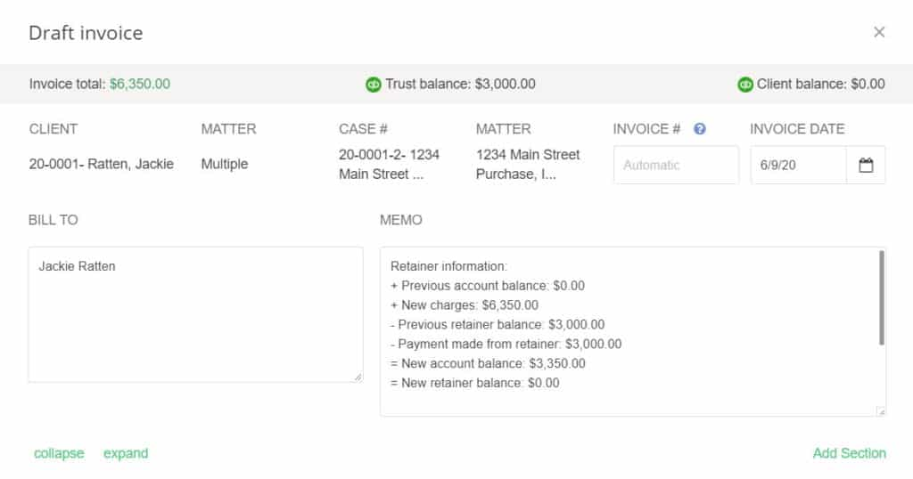 Screenshot of LeanLaw Invoice with Trust Account Balance