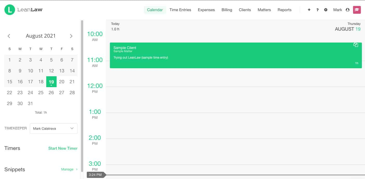 Screenshot of LeanLaw Main Page