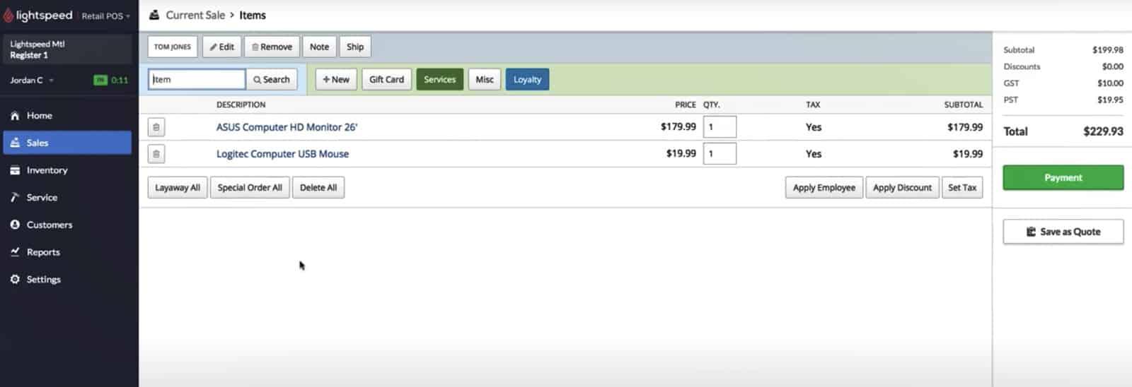 Screenshot of Lightspeed Retail sales dashboard
