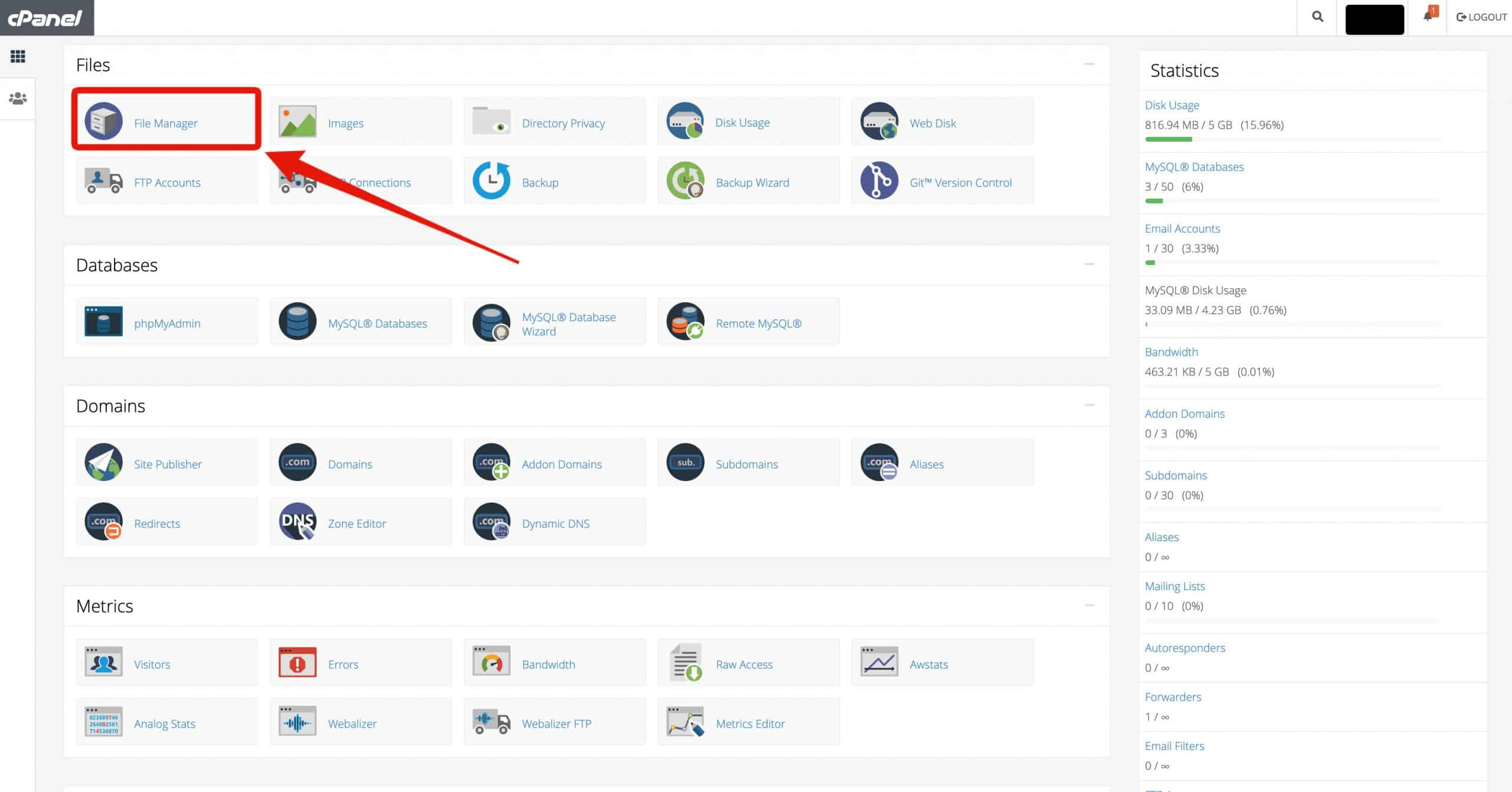 Screenshot_Locate_File_Manager_on_cPanel