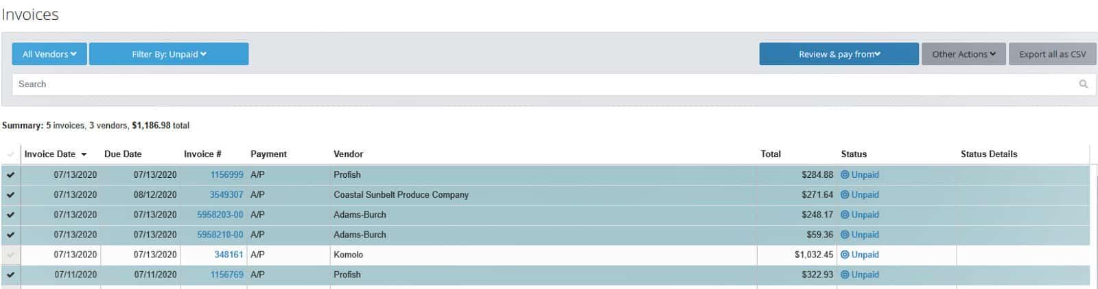 Screenshot of MarginEdge Paying Invoice Screen Example