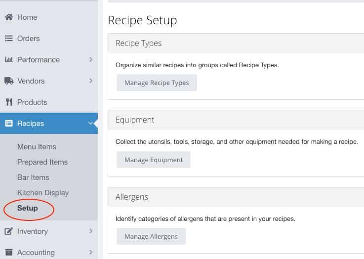 Screenshot of MarginEdge Recipe Setup Example