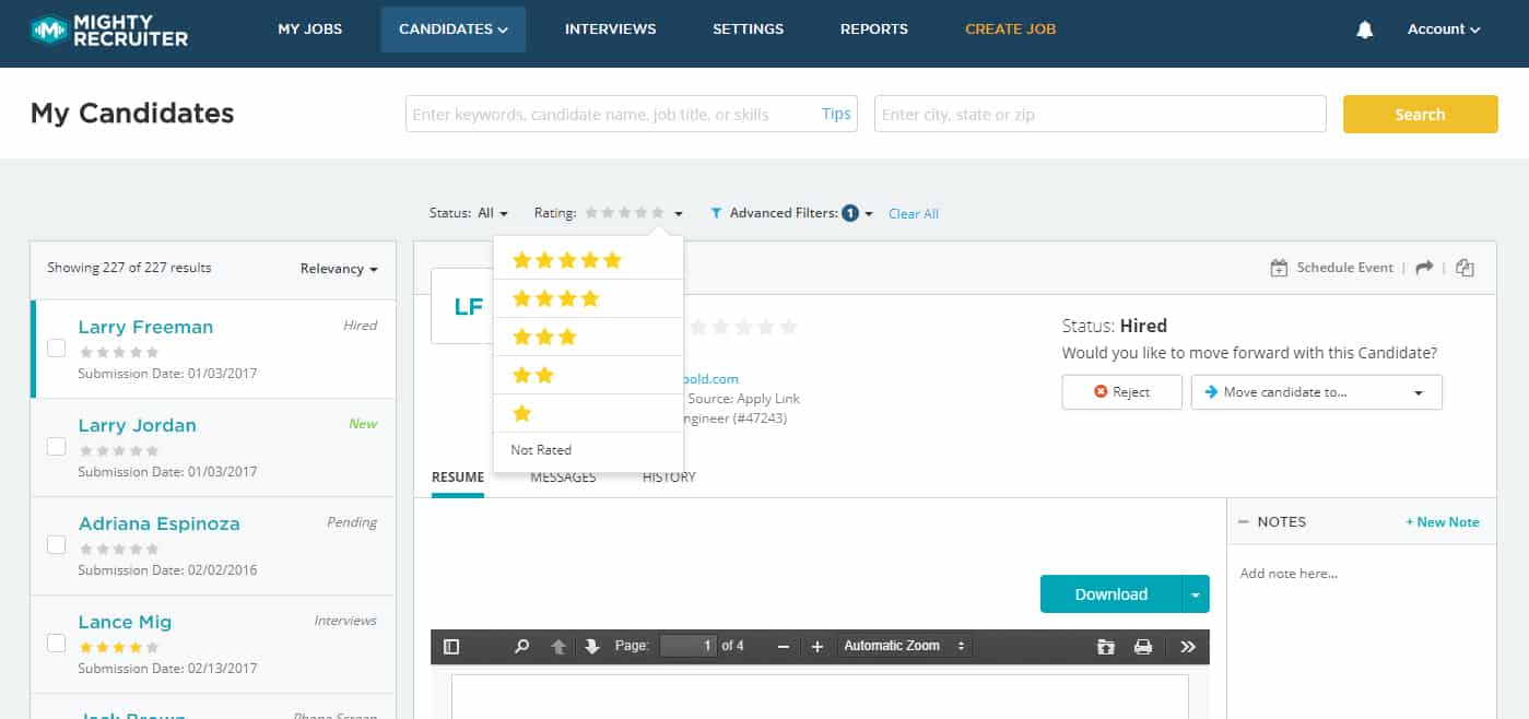 Screenshot of MightyRecruiter candidate ratings