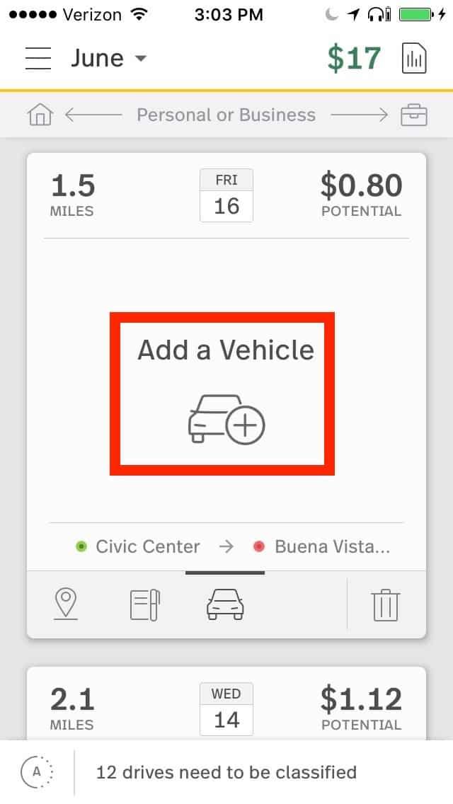Screenshot of MileIQ Adding a Vehicle
