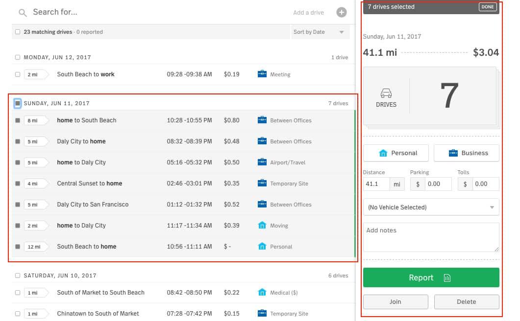 Screenshot of MileIQ Classifying and Editing Drives