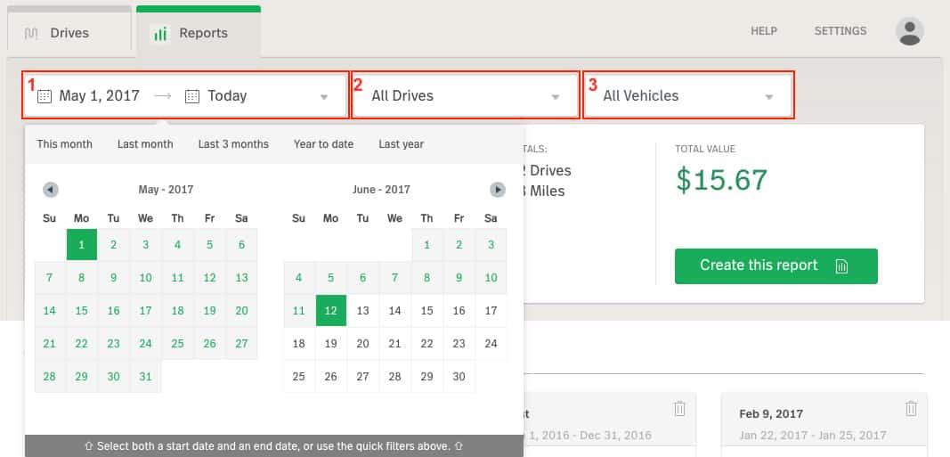 Screenshot of MileIQ Create a Report