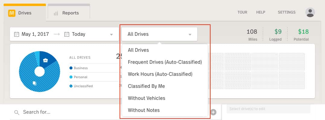 Screenshot of MileIQ Filtering Drives by Classification
