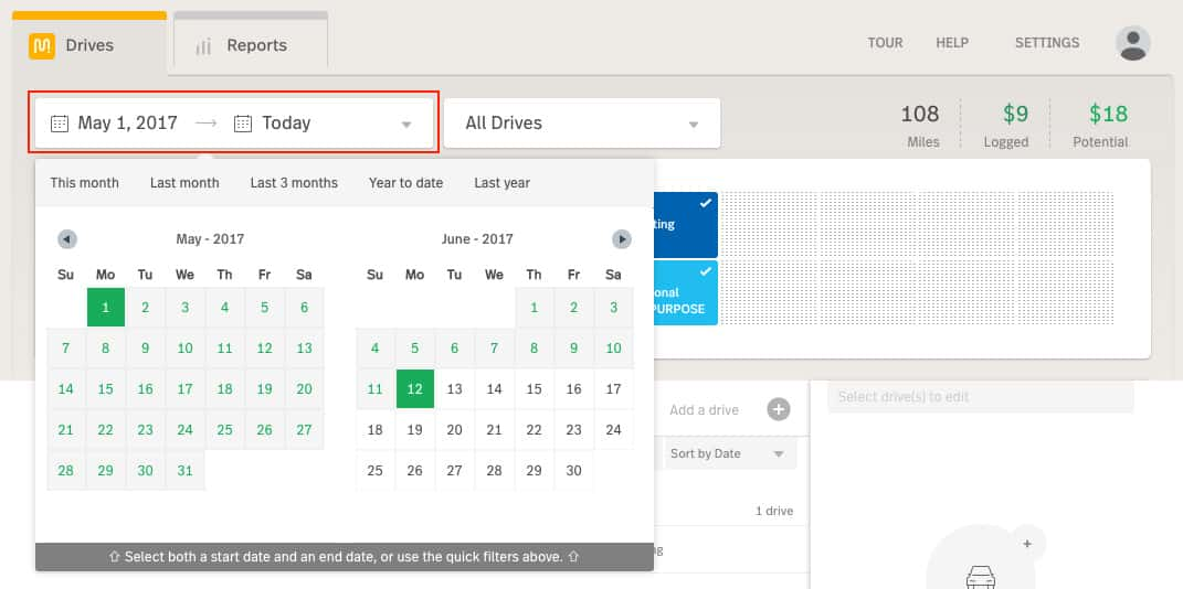 Screenshot of MileIQ Filtering Drives by Date