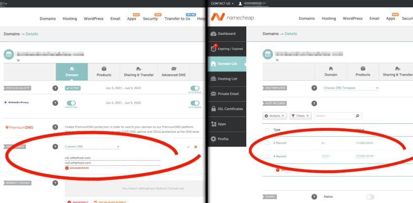 Nameserver or DNS change