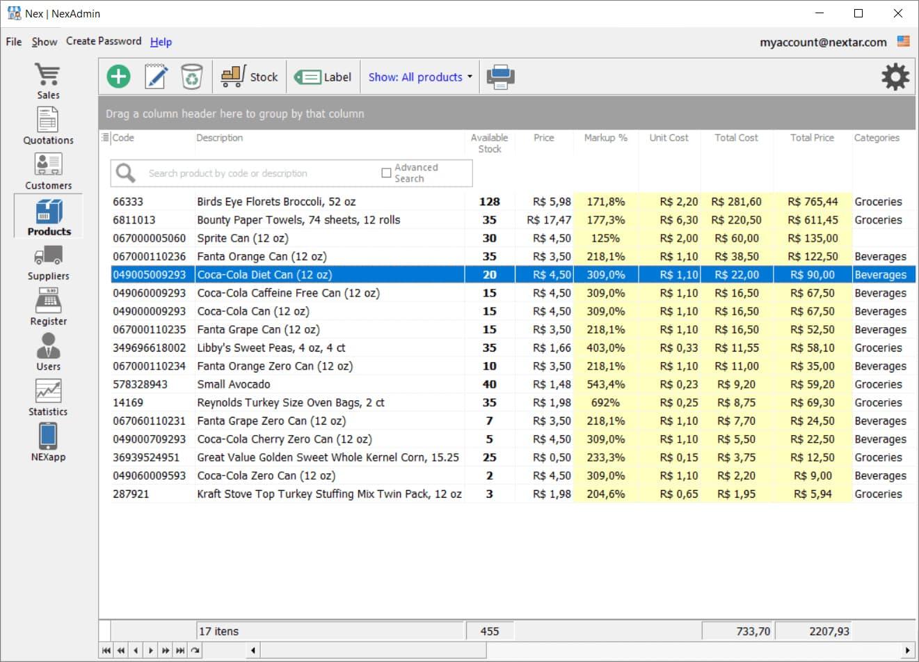 Screenshot of Nextar Admin dashboard