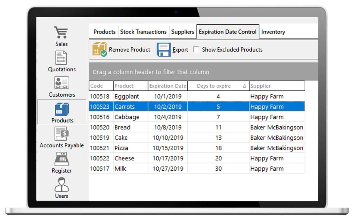 Screenshot of Nextar Expiration Date Control dashboard