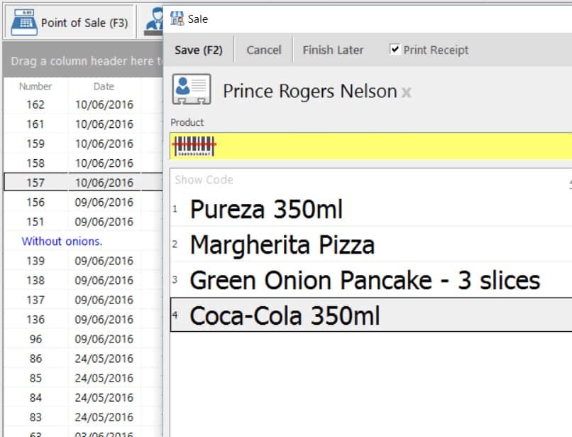 Screenshot of Nextar point-of-sale interface