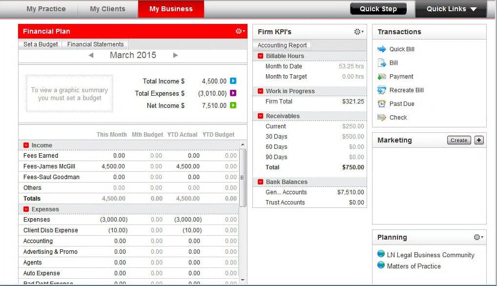 Screenshot of PCLaw Dashboard