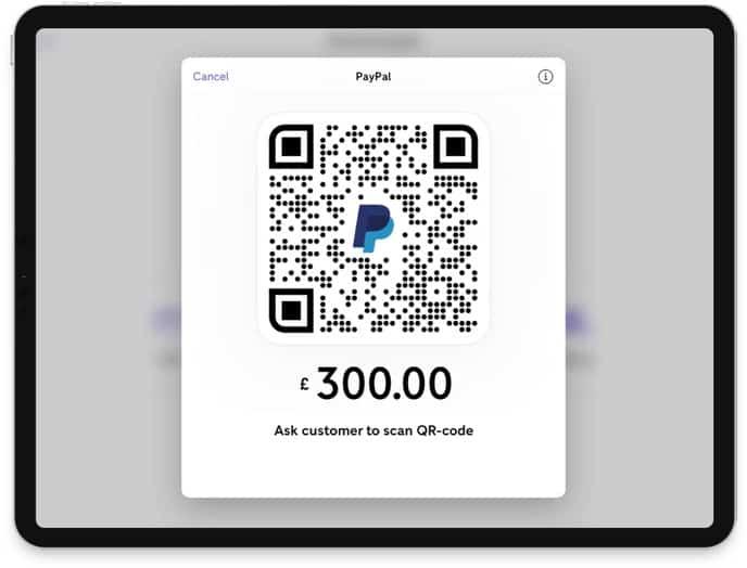 Screenshot of PayPal Zettle QR code sample