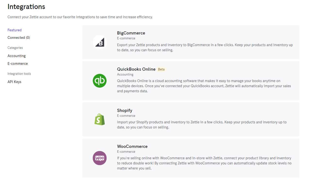 Screensho of PayPal Zettle integrations