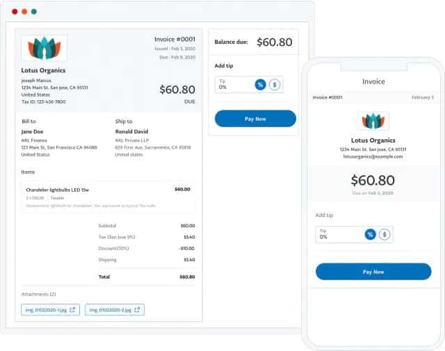Screenshot of PayPal example