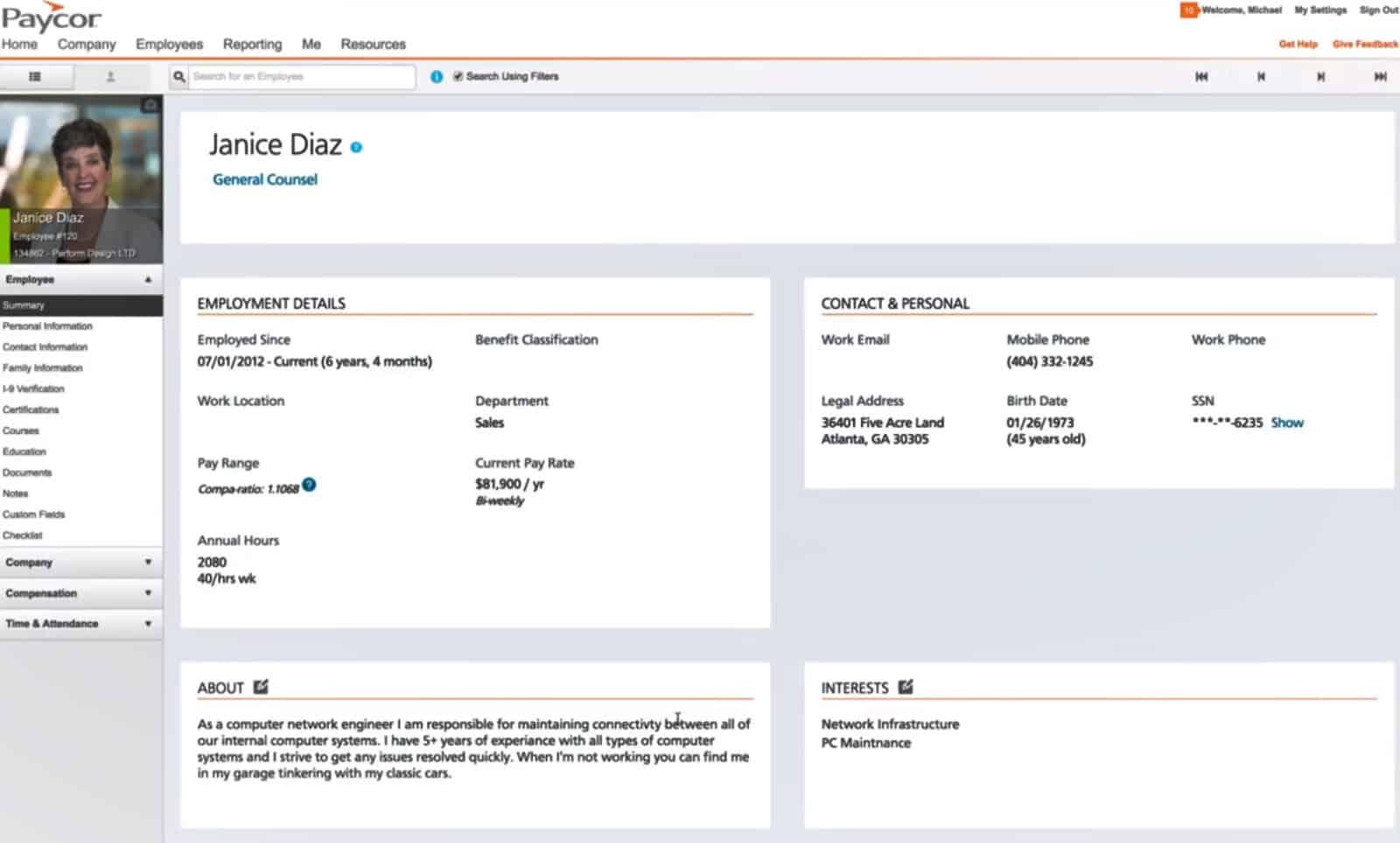 Screenshot of Paycors employee profiles example