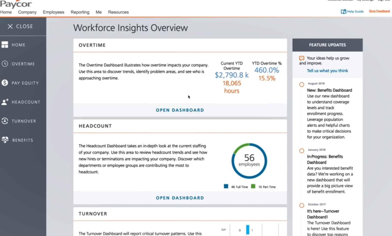 Screenshot of Paycors reports dashboard