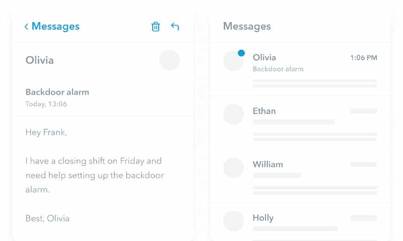 Screenshot of Planday messages example