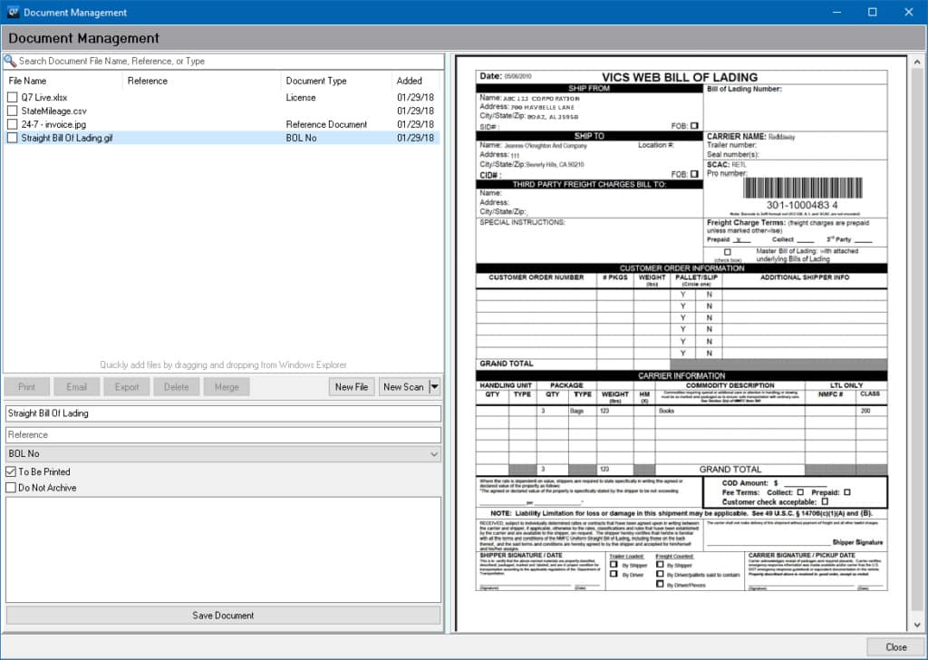Screenshot of Q7 Document Management Example