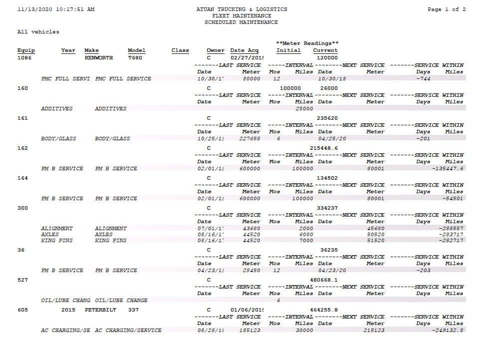 Screenshot of Q7 Fleet Scheduled Maintenance Report Example