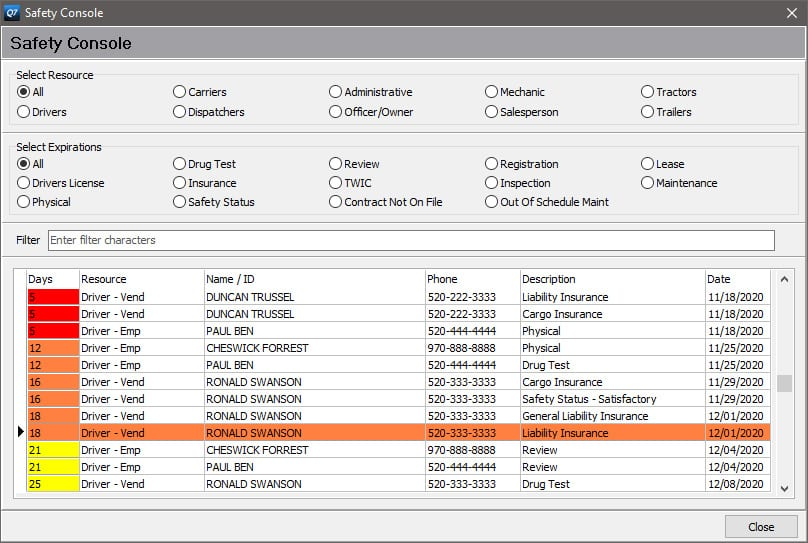 Screenshot of Q7 Safety Console Example