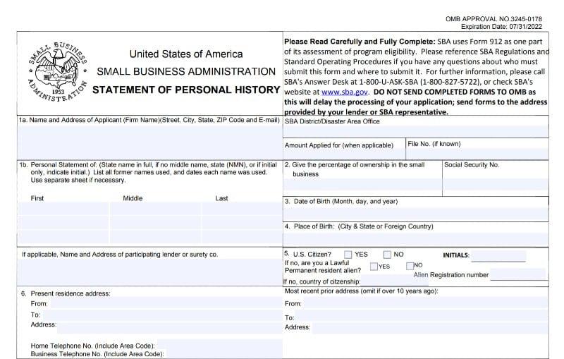 Questions 1-6 of SBA Form 912