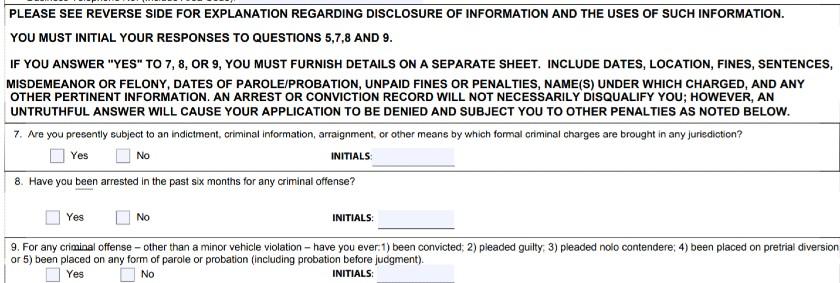 Questions 7-9 of SBA Form 912