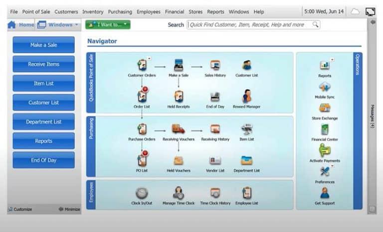 Screenshot of QuickBooks Admin dashboard