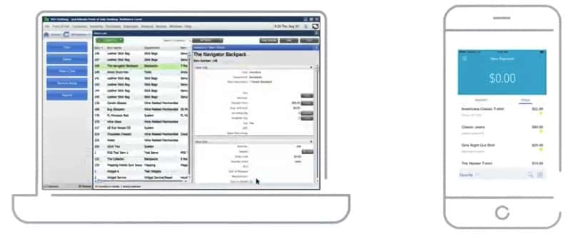 Screenshot of QuickBooks Payments transactions desktop and mobile