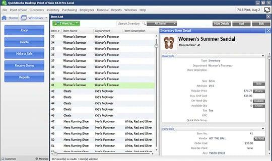 Screenshot of QuickBooks item list dashboard