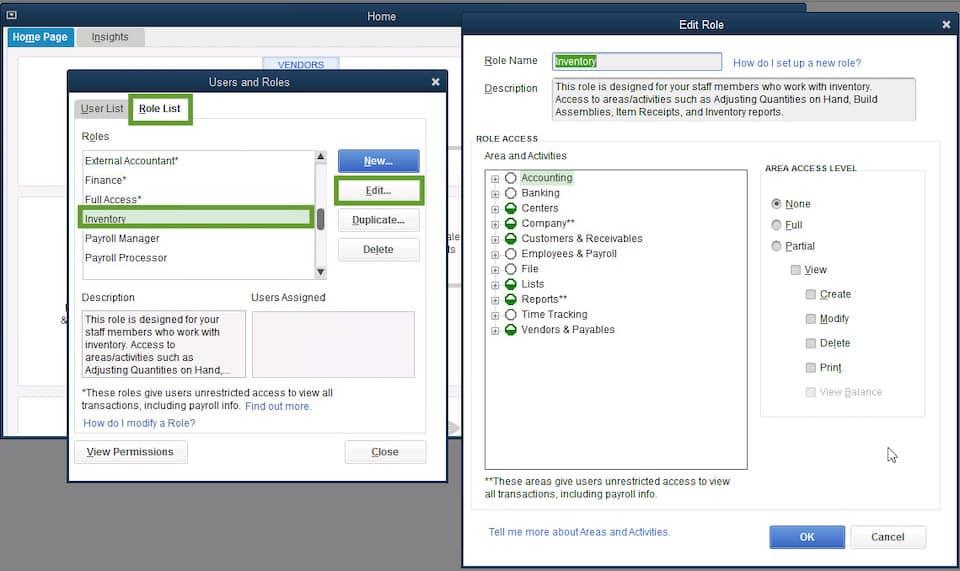 Screenshot of QuickBooks manage employee