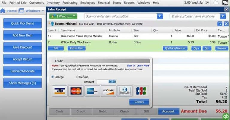 Screenshot of QuickBooks sales screen