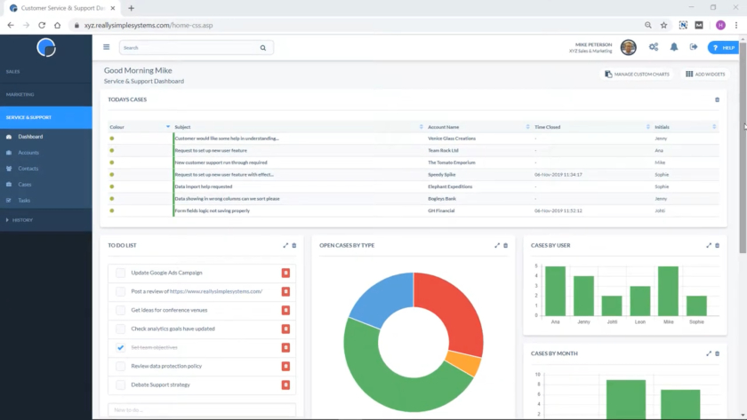 Really Simple Systems Service and Support dashboard