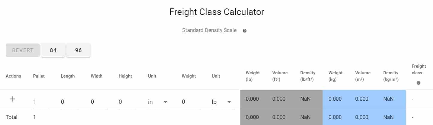 Screenshot of Redhawk Logistics Freight Class Calculator
