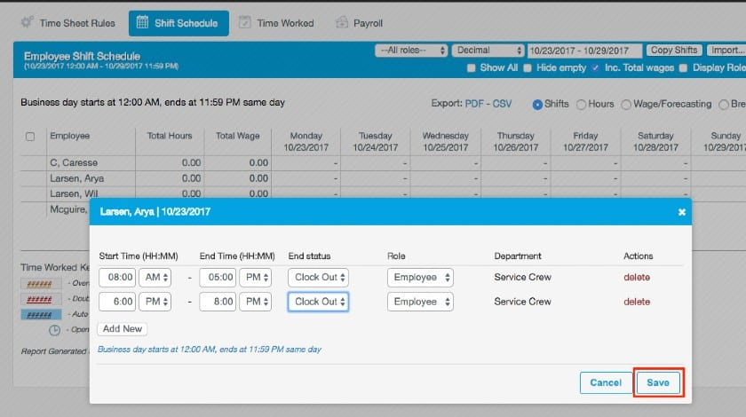Revel Workforce management dashboard