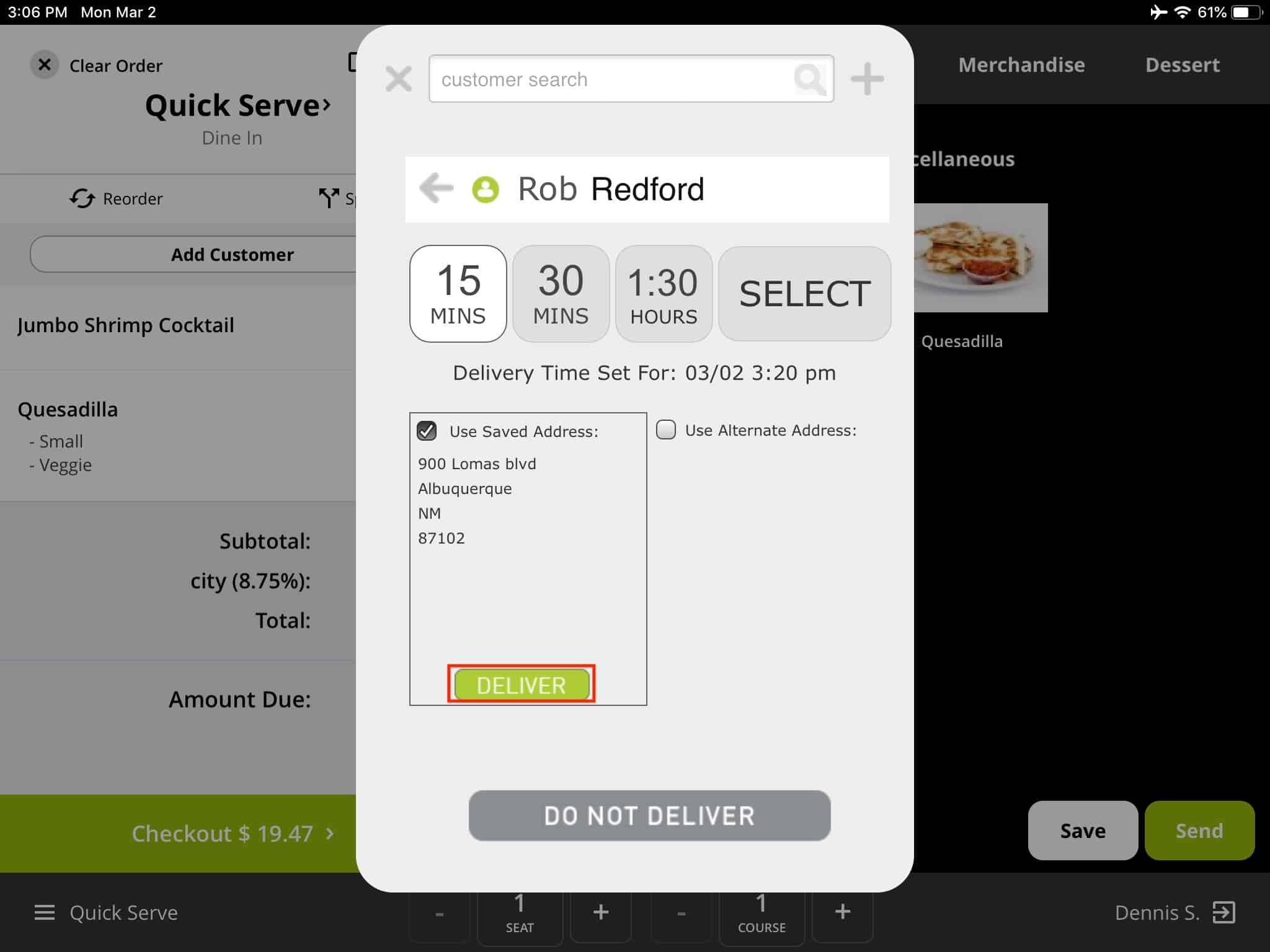 Screenshot of Rezku customer delivery information