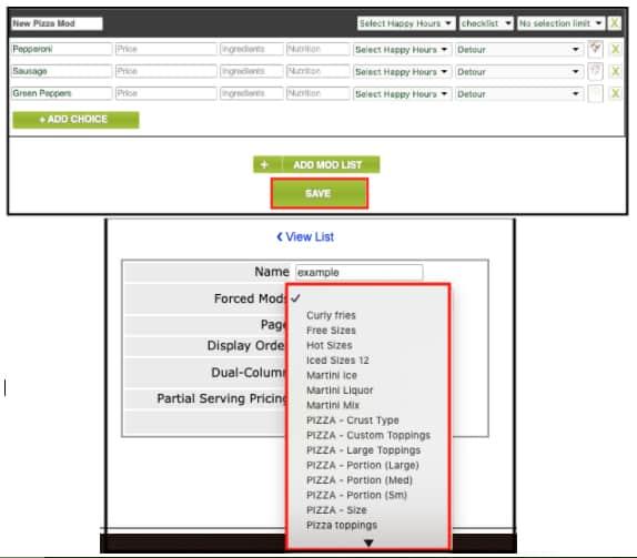 Screenshot of Rezku pizza modifiers