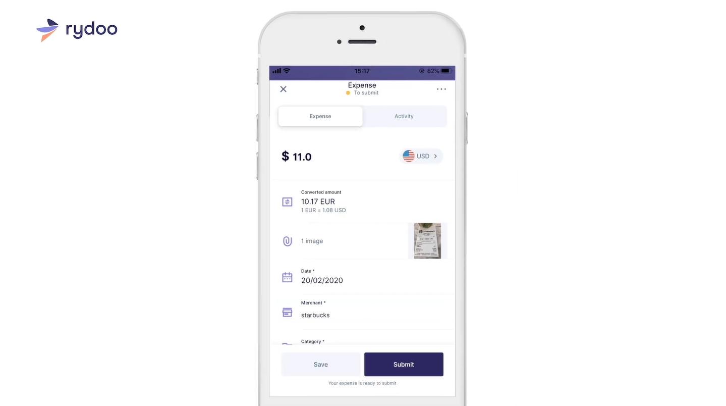 Screenshot of Rydoo Expense Information