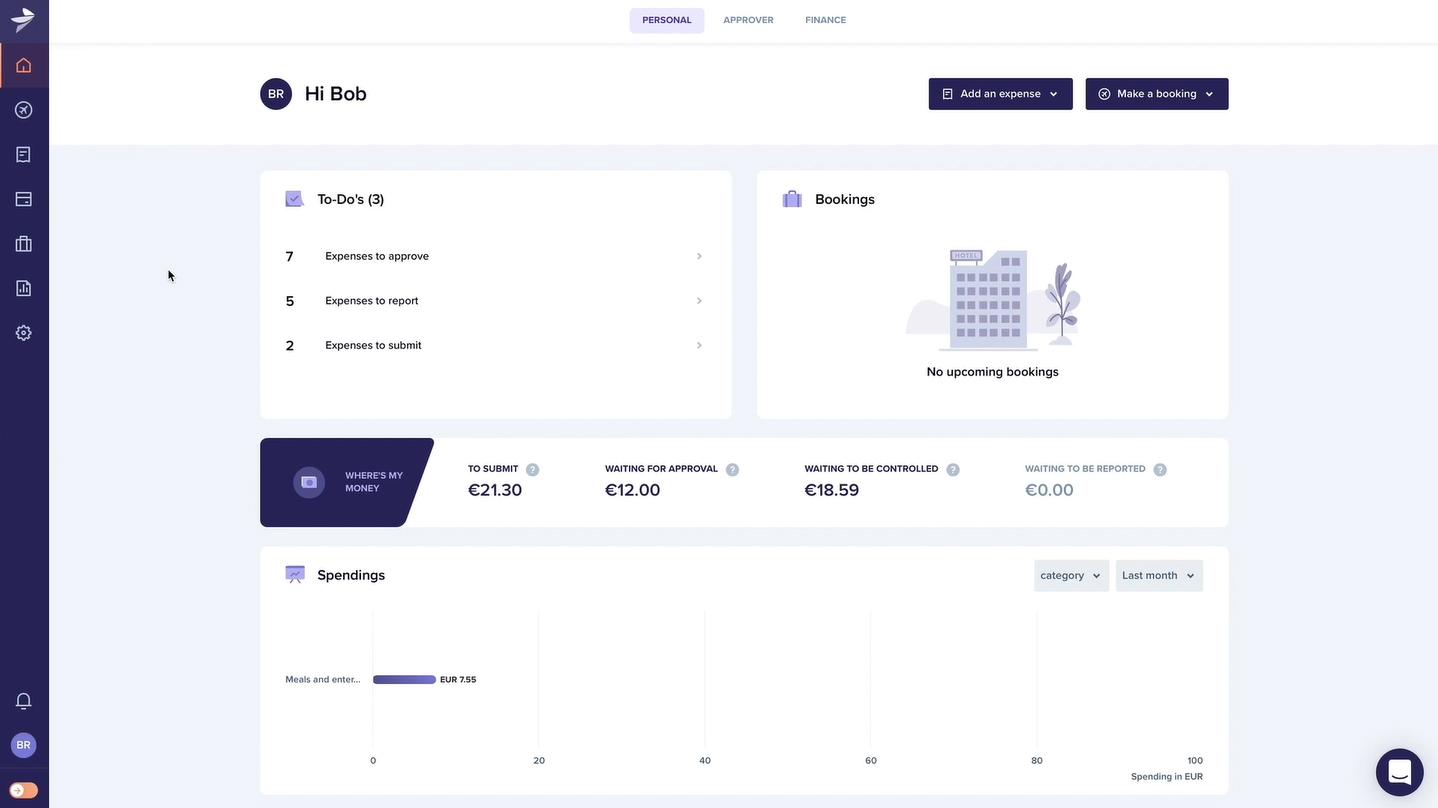 Screenshot of Rydoo Personal Role Dashboard