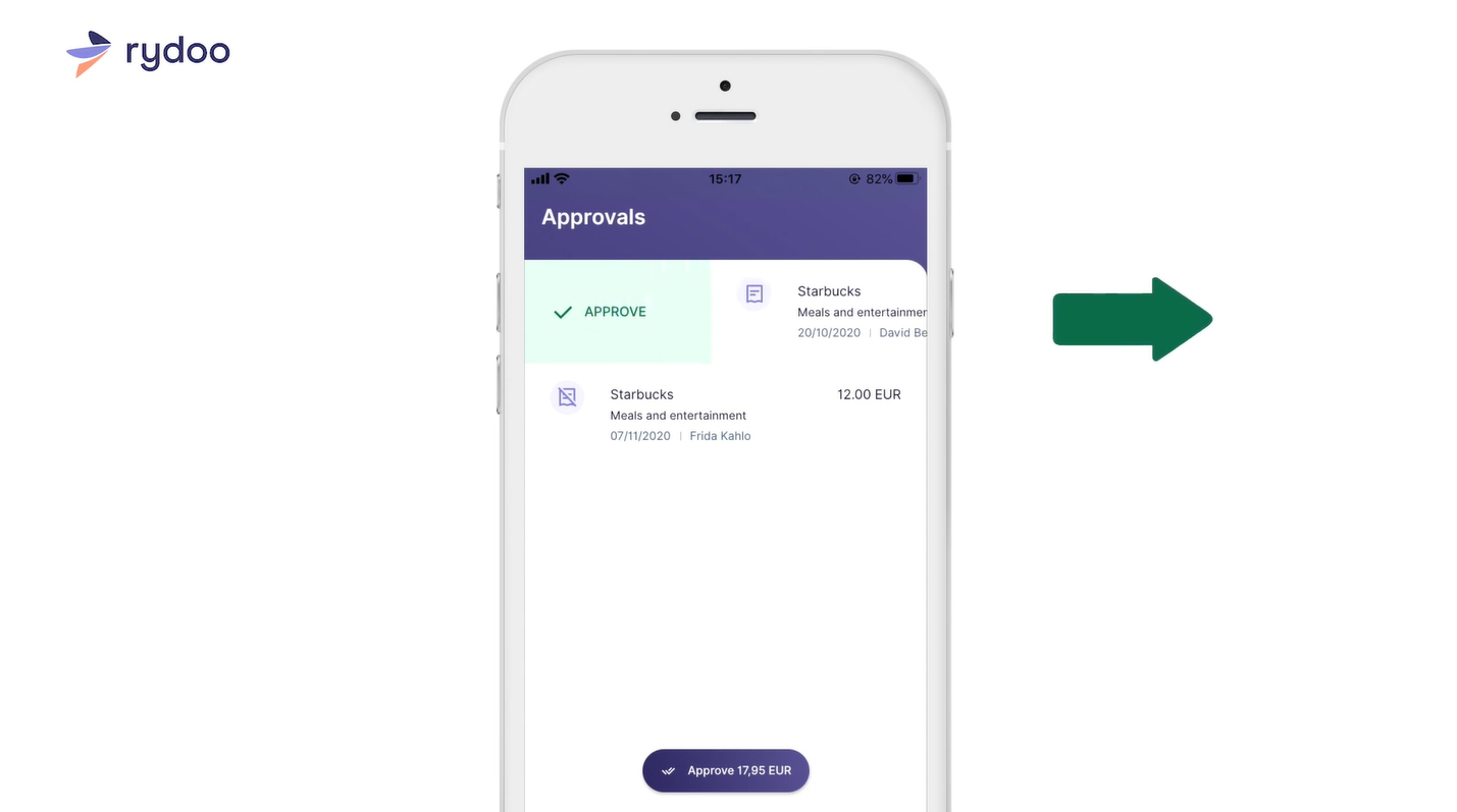 Screenshot of Rydoo Swipe Right To Approve Expenses