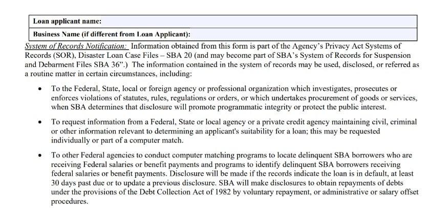 SBA Form 159D for Disaster Loans