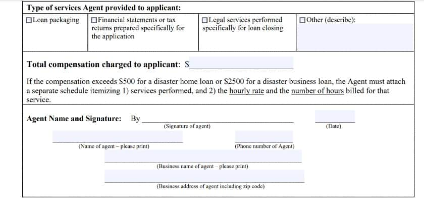 SBA_Form 159D for Disaster Loans Second Part