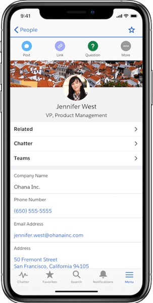 Salesforce Contact Page Interface In Mobile App